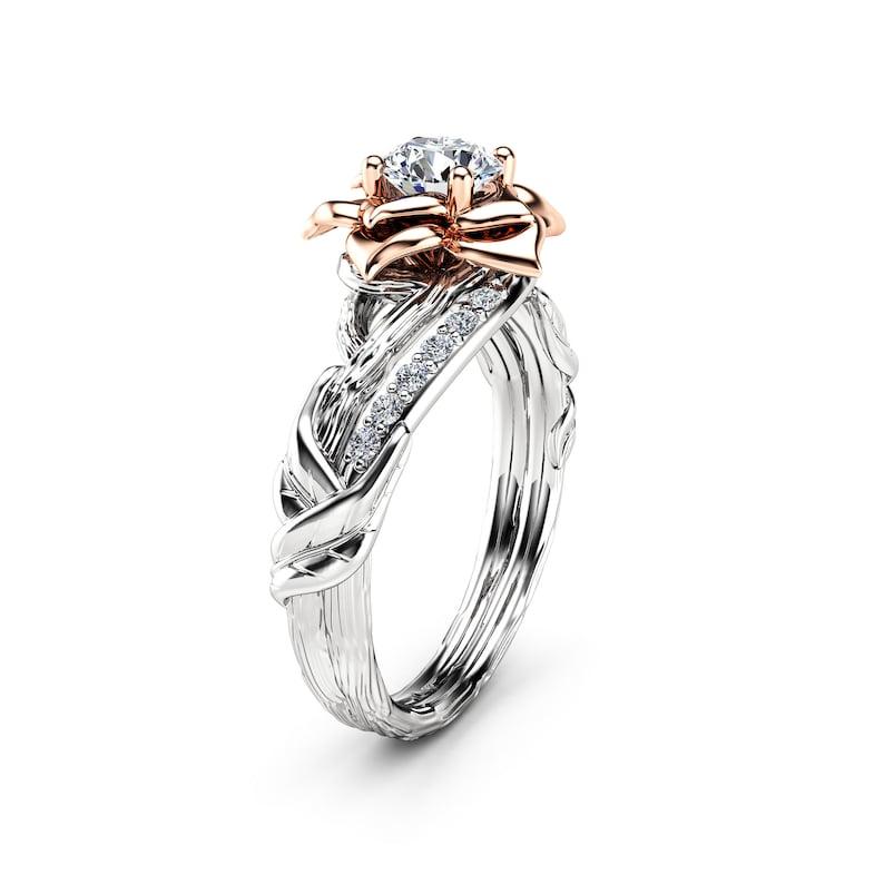 Bague Branche Diamant 05Etsy Anneau Promesse Deux Dor En Ton NPymn0v8wO
