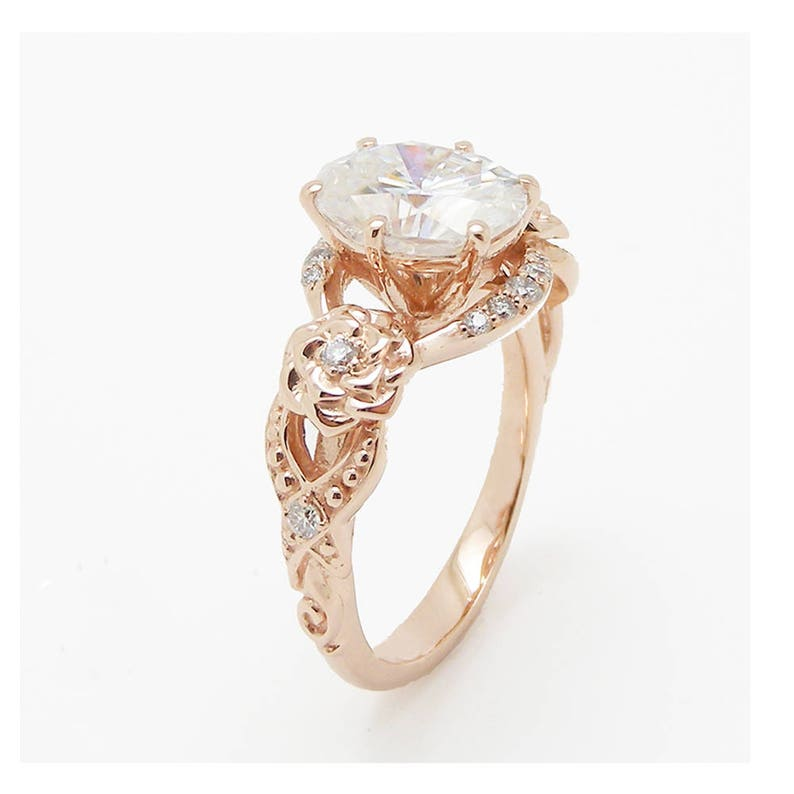 fc199ec79a425 Oval Moissanite Engagement Ring 14K Rose Gold Engagement Ring Moissanite  Floral Ring