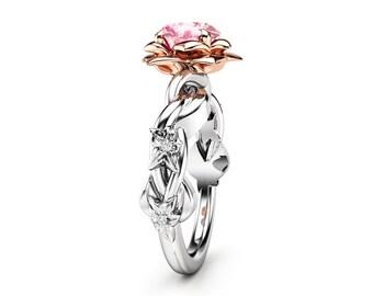 Unique Engagement Ring Pink Moissanite Engagement Ring White Gold Ring Unique Moissanite Ring