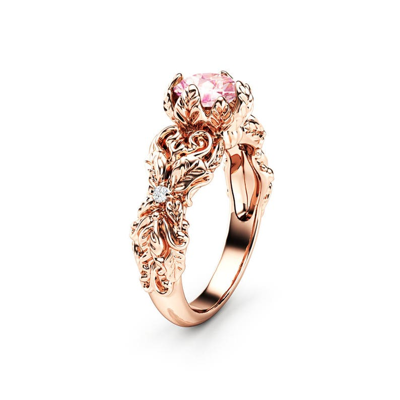 e4114d7a0ab43 Peach Pink Moissanite Engagement Ring 14K Rose Gold Leaves Ring Moissanite  Engagement Ring