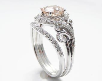 14K White Gold Engagement Rings White Gold Morganite Ring Peach Pink Morganite Engagement Ring Unique Engagement Rings