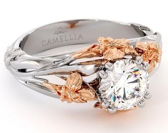 Flower Engagement Ring Moissanite Ring 14K White & Rose Gold lab Grown Diamond Engagement Ring
