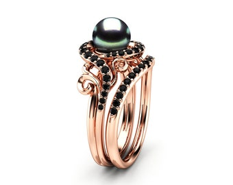 Black Pearl Engagement Ring Set Rose Gold Ring Leaf Engagement Ring Black Diamonds Rings
