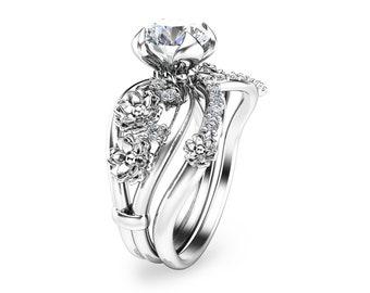 Moissanite Unique Engagement Ring Set 14K White Gold Floral Rings Unique Moissanite Engagement Ring