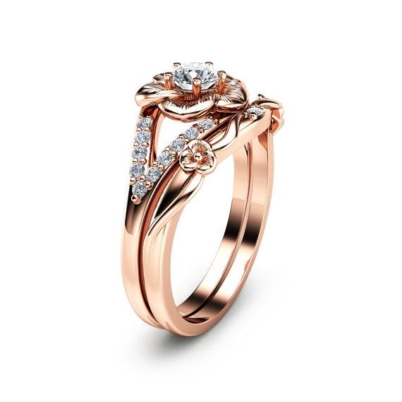 14k Rose Gold Engagement Ring Set Natural Diamond Rings Flower Etsy
