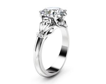 Moissanite Petal Engagement Ring 14K White Gold Engagement Ring 2 Carat Moissanite Engagement Ring