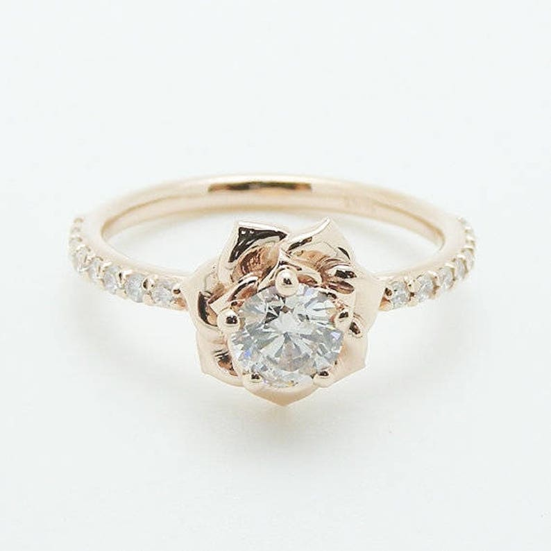 Flower Rose Unique Engagement Ring Right Hand Diamond Ring 14K  11ba2d9cb58a