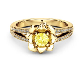Yellow Diamond Engagement Ring 14K Yellow Gold Diamond Ring Flower Engagement Ring Choose Your 0.5CT Diamond