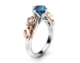 Blue Diamond Engagement Ring White Gold Ring Rose Engagement Ring Diamond Gold Ring
