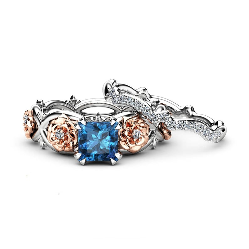 London Blue Topaz Promise Rings Princess Cut Bridal Ring Set Floral White  and Rose Gold Bands Camellia Jewelry