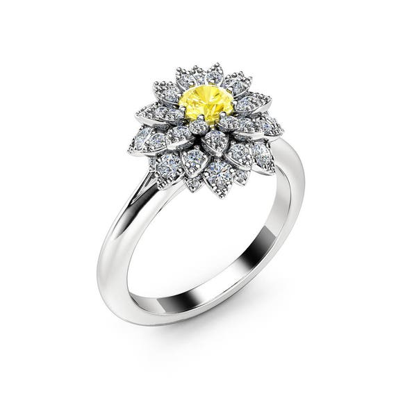Yellow diamond flower engagement ring 14k white gold fancy etsy image 0 mightylinksfo