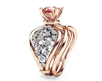 Unique Two tone Gold Engagement Rings 14K Diamond Bridal Set Ring Peach Pink Morganite Ring