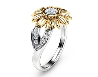 Unique Engagement Ring Natural Diamond 14K Gold Ring Sunflower Engagement Ring Camellia Jewelry