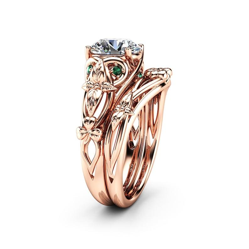 480c55c06 Moissanite Shamrock Celtic Knot Engagement Ring Set 14K Rose | Etsy