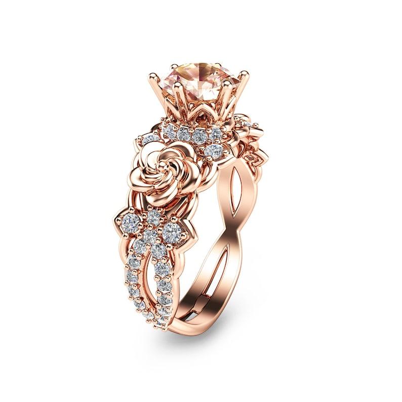 14k Rose Gold Morganite Engagement Ring Unique Morganite Etsy