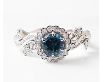 14K White Gold Blue Diamond Engagement Ring-Halo Engagement Ring