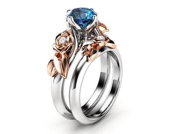 Topaz Engagement Ring Set White Gold Ring Rose Engagement Ring London Blue Topaz Ring