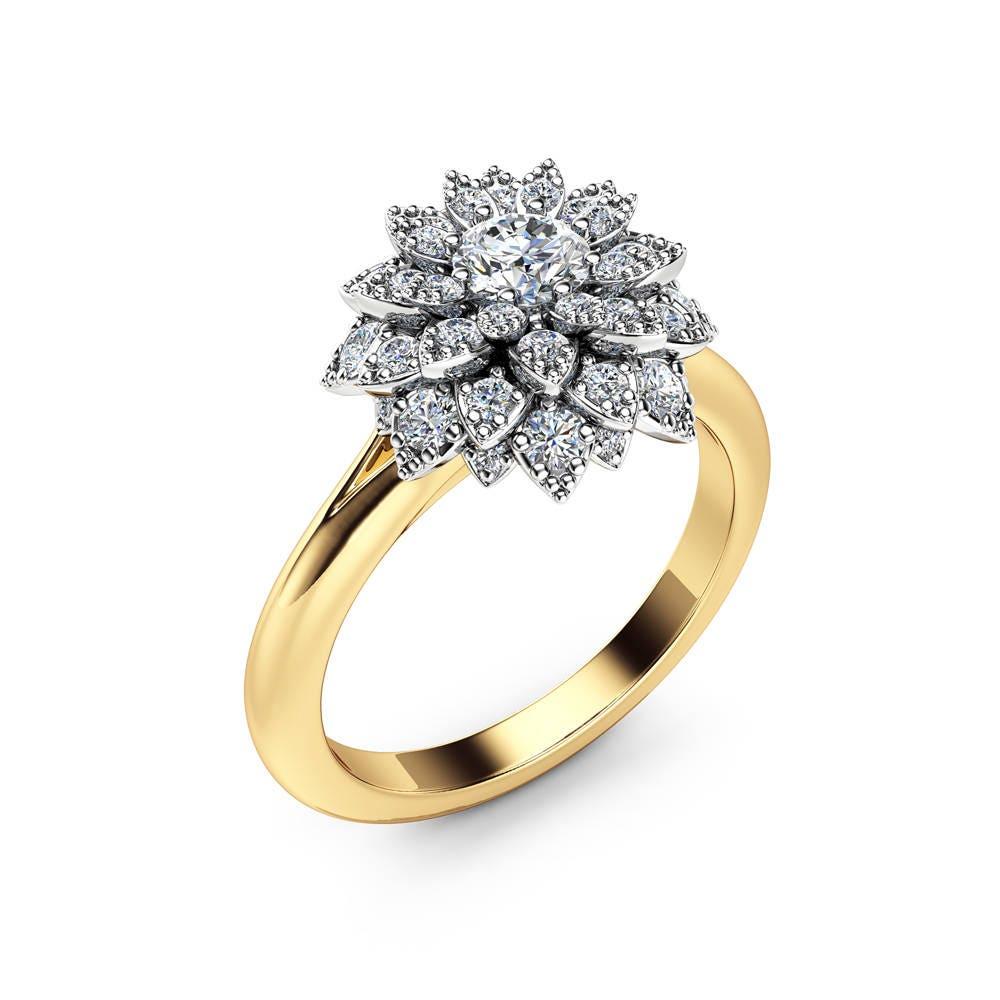 Diamond Flower Engagement Ring 14K Two Tone Gold Flower Ring