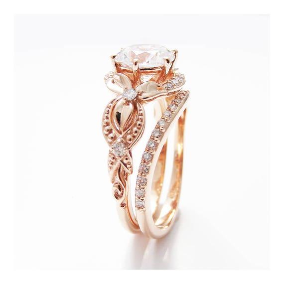 Unique Moissanite Engagement Ring Set 14k Rose Gold Engagement Etsy