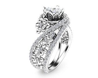 Flower Moissanite Promise Rings Princess Cut Bridal Ring Set