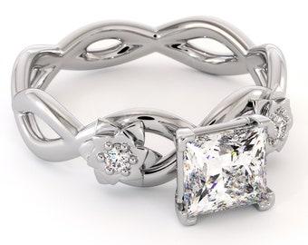 14K White Gold Engagement Ring Moissanite Princess Ring Forever One Moissanite Ring