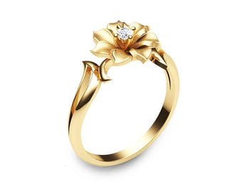 14K Yellow Gold Flower Ring Unique Diamond Engagement Ring Leaf and Flower Solitaire Ring Nature Inspired Engagement Ring