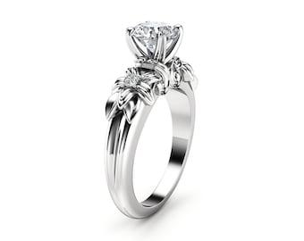 Moissanite Engagement Ring 14K White Gold Ring Unique Engagement Ring