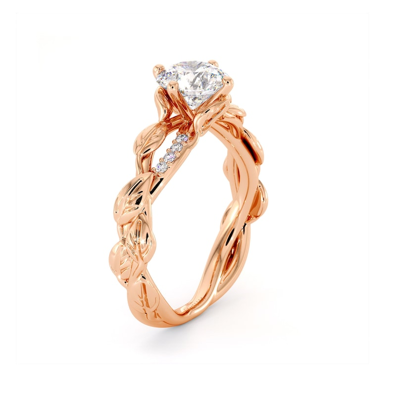 ce1a1a64859b3 Moissanite Engagement Ring 14K Rose Gold Ring Twisting Leaves Engagement  Ring