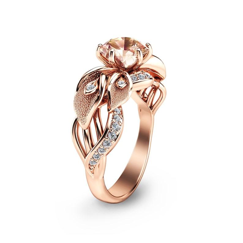 e2b4937972b2d 14K Rose Gold Morganite Engagement Ring Calla Lily Design Morganite Ring  Unique Flower Ring Nature Inspired Engagement Ring