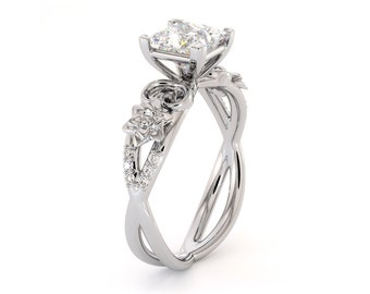 Moissanite Engagement Ring Promise Ring Princess Cut Forever One White Gold Wedding Band Anniversary Ring