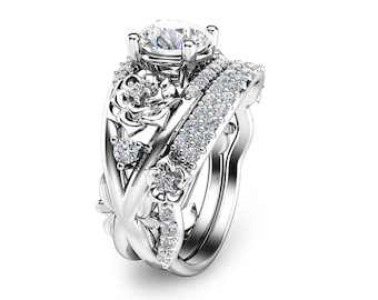 Floral Moissanite Engagement Ring Set 14K White Gold Rings Unique Moissanite Wedding Rings Art Deco Engagement Rings
