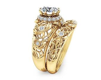 Lab Created Diamond Engagement Ring Set Unique Wedding Ring Set 14K Yellow Gold Rings Art Deco Diamonds Rings