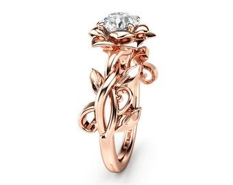 Moissanite Engagement Ring Rose Gold Engagement Ring Vintage engagement ring