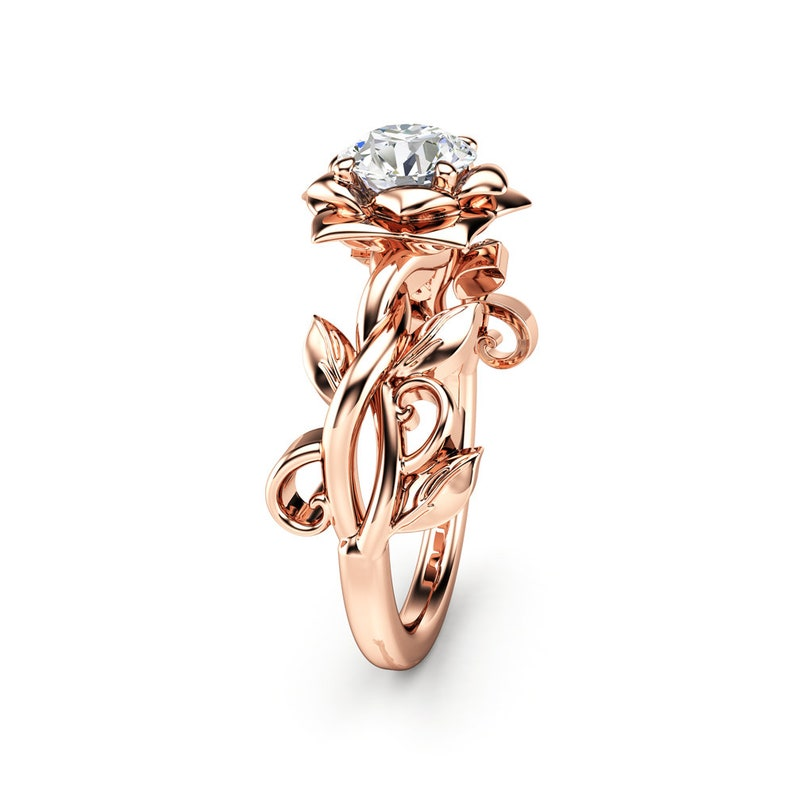 2a88d01522957 Moissanite Engagement Ring Rose Gold Engagement Ring Vintage engagement ring