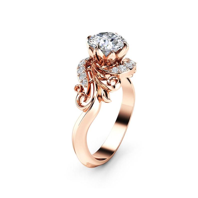 d632f3fb22769 Moissanite Petal Engagement Ring 14K White Gold Ring Art Nouveau Styled  Moissanite Engagement Ring