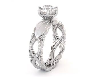 Leaf Engagement Ring Moissanite Ring 14K White Gold Ring Leaves Engagement Ring