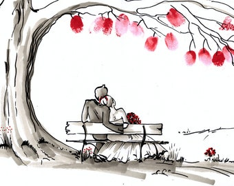 """Wedding tree """"Happily ever after"""" original illustration A3/A2, alternative guest book"""