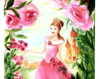 Sleeping Beauty watercolor illustration A4 printable download