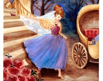 Cinderella watercolor illustration A4 printable download