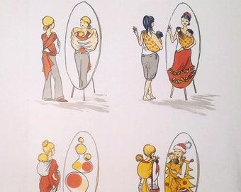 Maternity II. -  large original lithography print adoring babywearing and motherhood