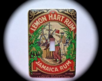 METAL Decorative Single Switch Plate ~ Jamaican Rum, Light Switchplate, Switch Plate Cover, Home Decor