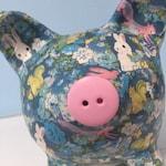 Bunny Blue & Forest Friends Decoupage Piggy Bank