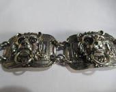 Vintage very unusual Lion head door knocker panel bracelet.