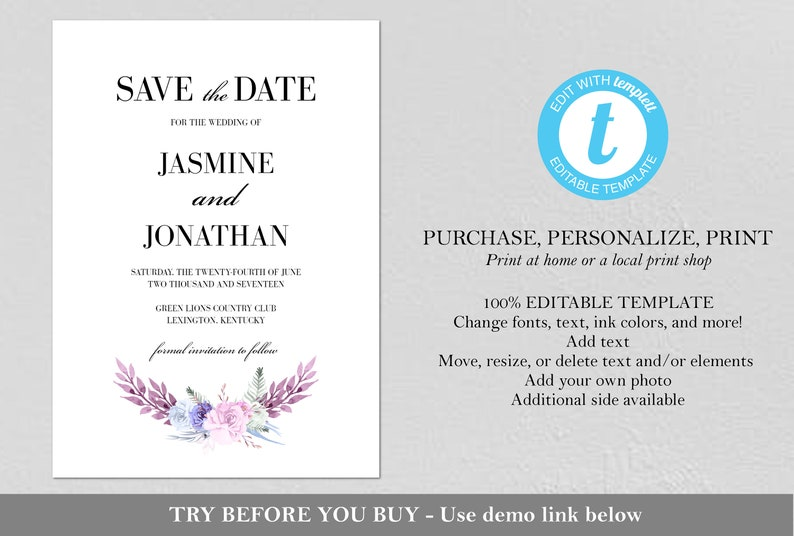 EDITABLE Watercolor Bouquet Save the Date Invitation Purple Save the Date PDF Printable Save the Date Instant Download Floral Wreath