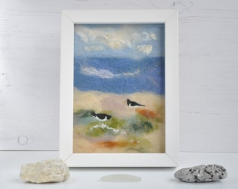 Embroidered oystercatchers coastal seascape picture with frame