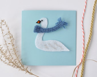 Swan greeting card, birthday, wedding, anniversary, cute card for her, handmade