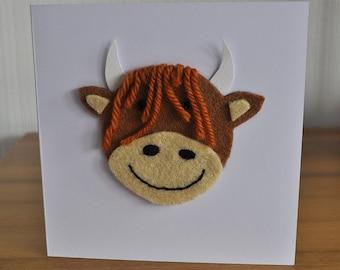 Highland cow greeting card: birthday, cute coo - Scottish - Scotland - animal character - handmade, good luck, keepsake