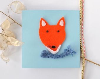 Fox greeting card, cute blank birthday card, handmade, thank you,