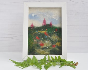 Embroidered wildflower meadow picture with frame, present, nature, floral, gift for her, birthday