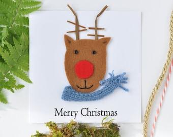 Rudolph Christmas card, felt reindeer Xmas card, handmade